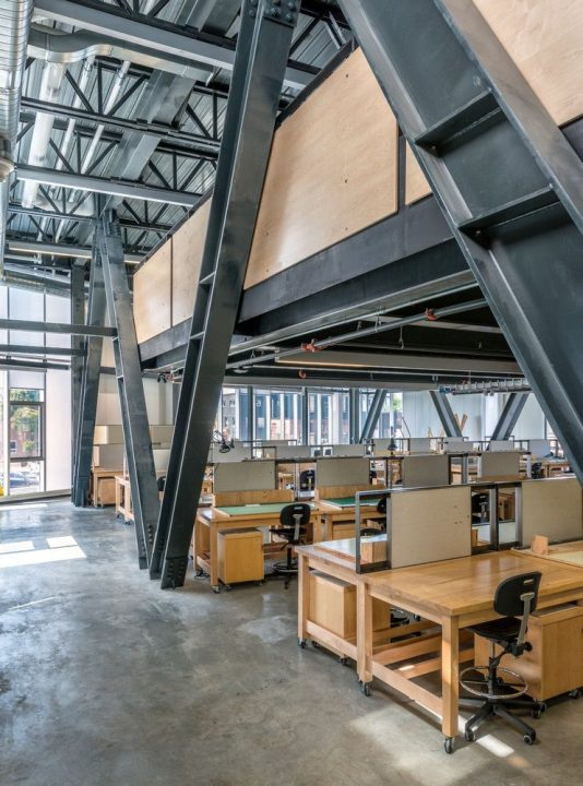 Photograph of the metal truss system in the McEwen School of Architecture