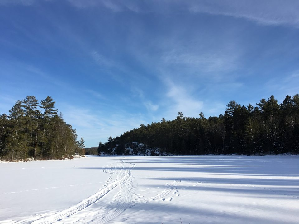 Photograph of a frozen river covered in snow with a forest surrounding
