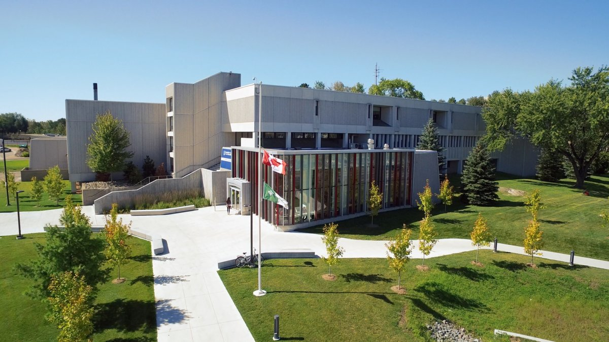 Photograph looking down on a series of university building
