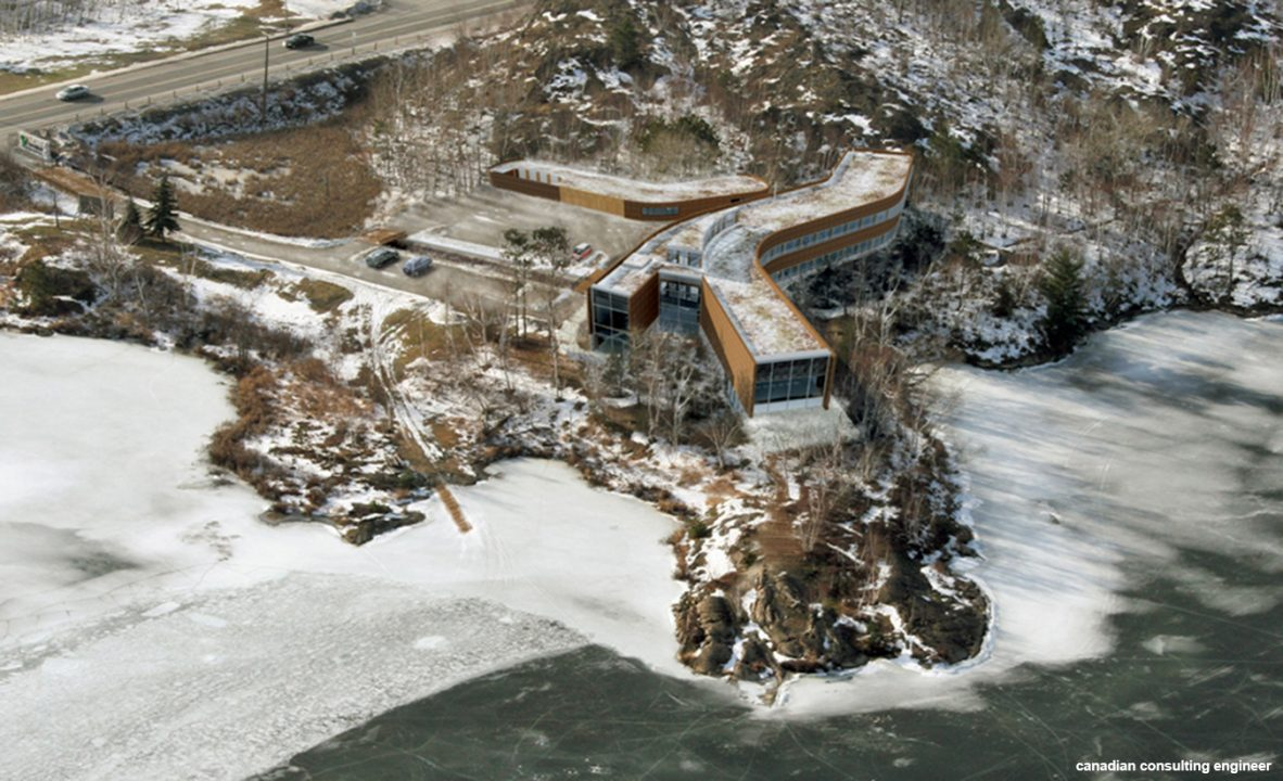 Photograph of a y shaped building from above in the winter